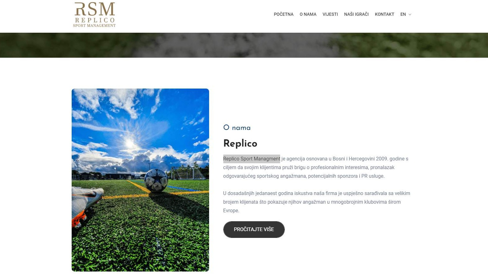 Website for Replico Sport Managment