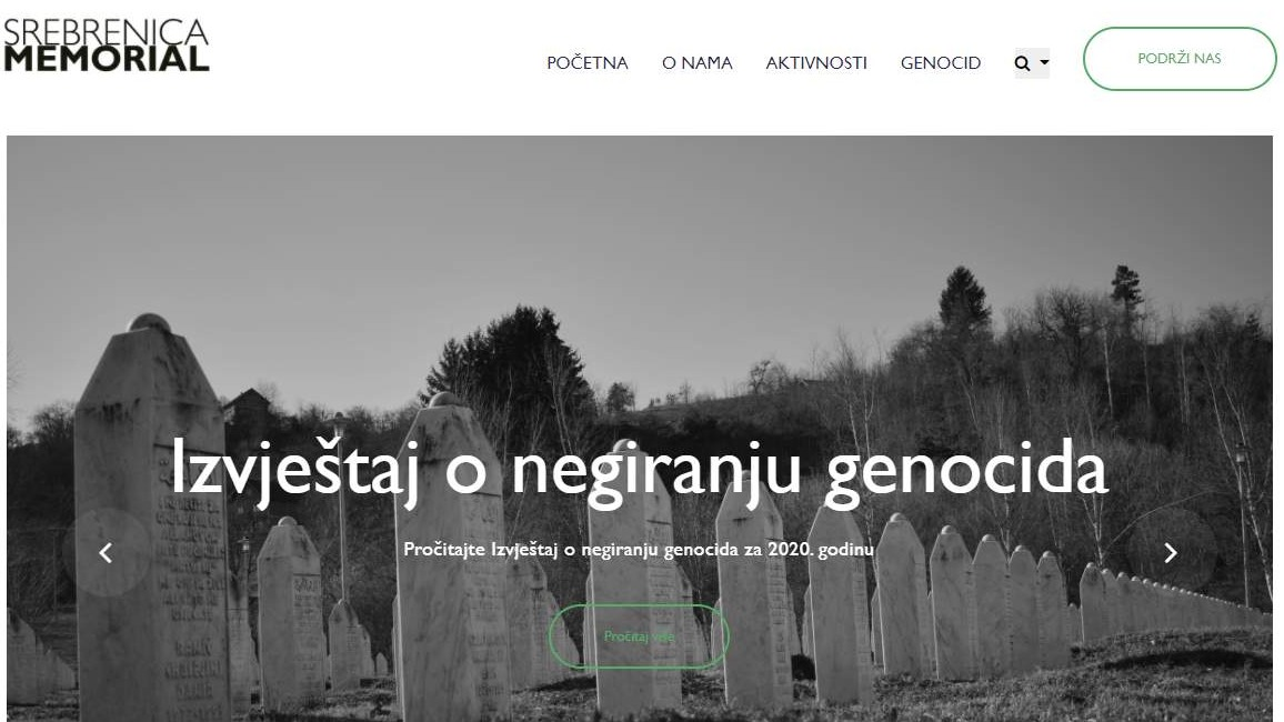 Website for the Srebrenica Memorial Center