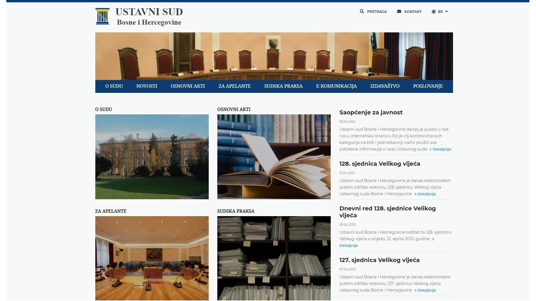 Website for the Constitutional Court of Bosnia and Herzegovina
