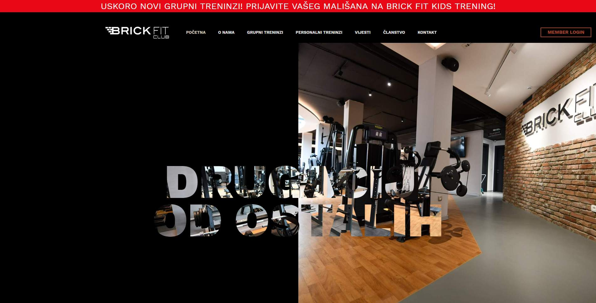 "Web stranica za ""Brick Fit Club"""